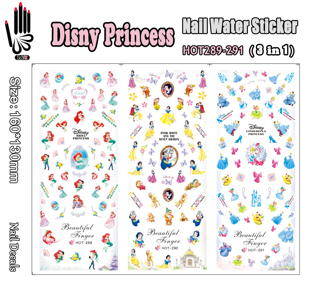 3 Sheets/Lot Nail HOT289-291 Disny Princess Nail Art Wrap Water Transfer Sticker for Nail Art Decorations (3 DESIGNS IN 1)