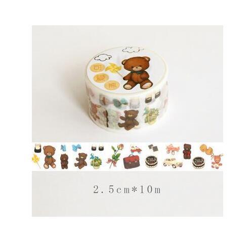 Lovely Travel Bear Washi Tape DIY Scrapbooking Sticker Label Masking Tape School Office Supply