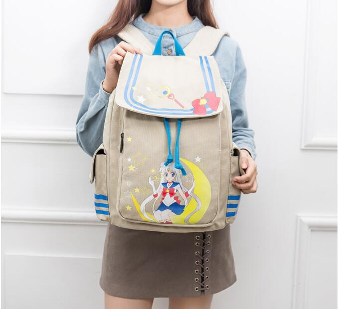 New Fashion Sailor Moon Backpack Canvas Girls School Rucksack Schoolbag Cute Travel Bags Large Capacity Laptop Bags