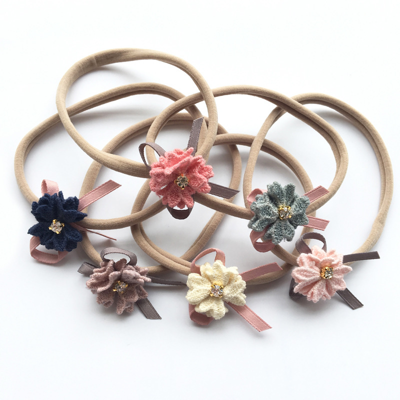 Bebe Girls Nylon Flower Headband Rhinestone Hair Bows Elastic Hairband for Kids Children Headwear Hair Accessories bebe girls flower headband four felt rose flowers head band elastic hairbands rainbow headwear hair accessories