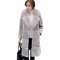 2017 winter nieuwe wol scheren fluwelen bontjas Haining lange vrouwelijke imitatie vossenbont jas was dunne
