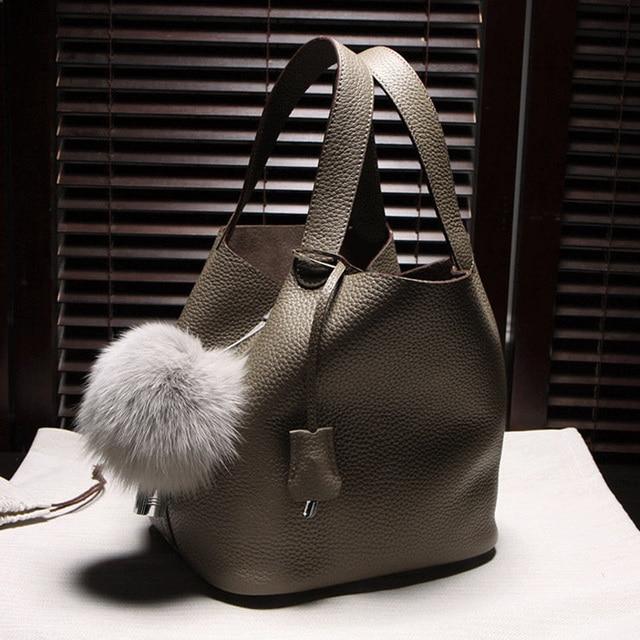 Waterproof ,Large capacity Genuine Leather Bucket Bag Women Handbags Lichee Pattern Solid Tote