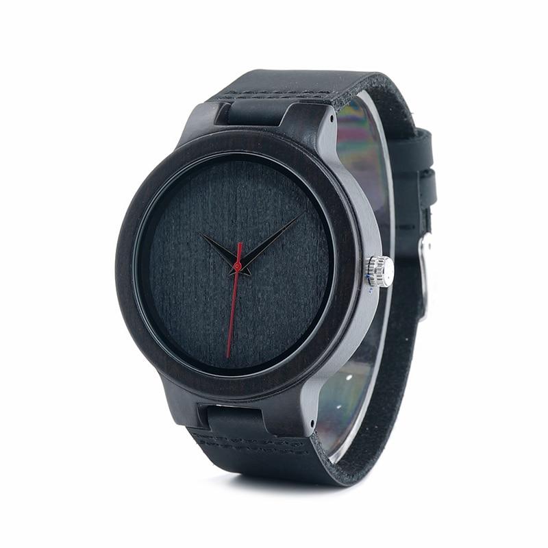 Image 3 - BOBO ptak WC22 drewno hebanowe zegarek z czerwona wskazówka skórzany pasek japan miyota 2035 mechanizm kwarcowy zegarki dla mężczyzn kobietywatch forwatches for menwatch with -