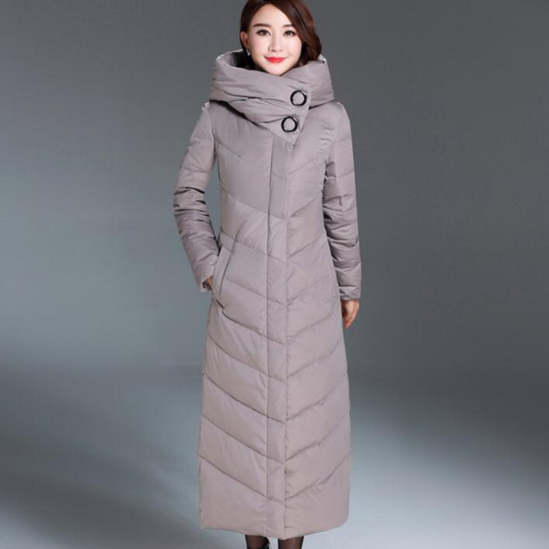 2018 Winter Middle-aged Mother White Duck   Down     Down   Jacket Women High Quality Thicken X-Long With Belt Warm   Down     Coat   Plus Size