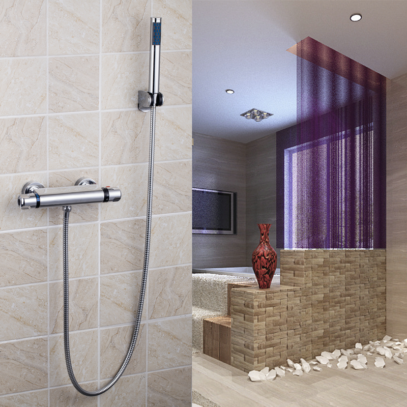 OUBONI Bath torneira Shower Set Torneira Wall Mounted Rainfall Handheld Shower Bathroom Bathtub Thermostatic Shower Mixer Tap chrome polished rainfall solid brass shower bath thermostatic shower faucet set mixer tap with double hand sprayer wall mounted