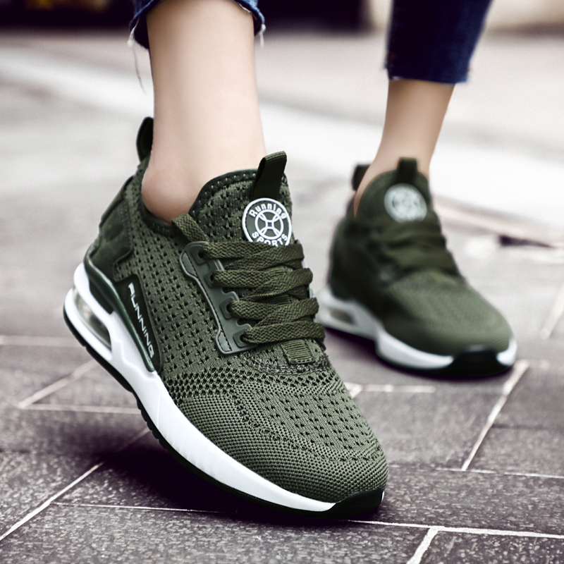Summer Breathable Zapatillas Mujer Women's Sneakers Men Sports Shoes Woman Sport Shoes Women's Running Shoes 2019 Green B-239