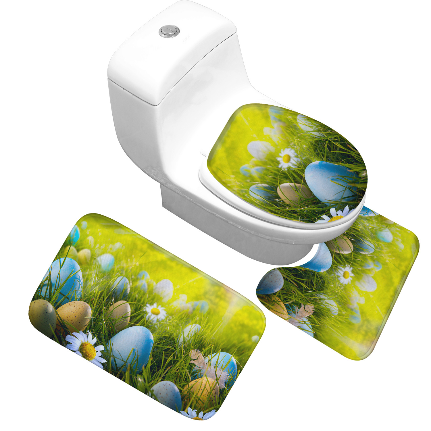 Honlaker Thicken Flannel Bathroom Absorbent Mats Toilet Mats and Cover 3 Sets Bath Toilet Mat Bath Painted Eggshell Rugs Mats