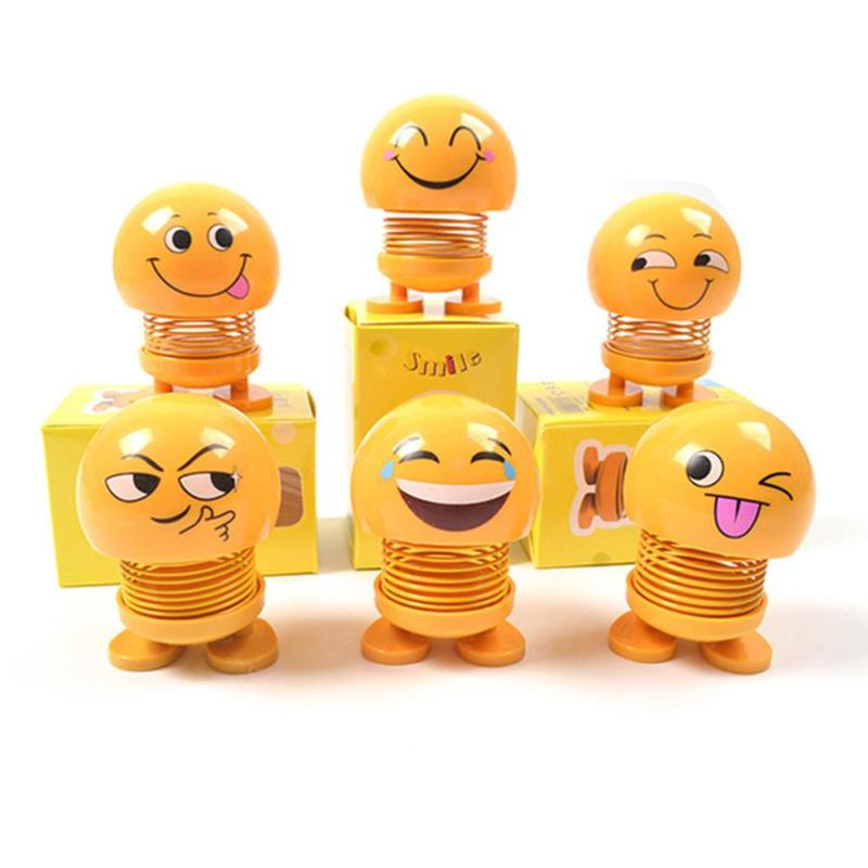 1 Pc Emoticon Doll Creative Funny Bouncing Shaking Head Dolls Car Pendant Dolls Bouncing Smiley Face Toys Gifts Car Decoration