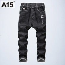 be99da7a7 Kids Boys Trousers Boys Jeans Elastic Waist Children Pants Teenage Boys  Clothing Autumn Long Black Trousers