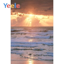 Yeele Seaside Sunset Waves Cloudy View Photographic Backdrops Customize Wedding Scenery Photography Backgrounds For Photo Studio