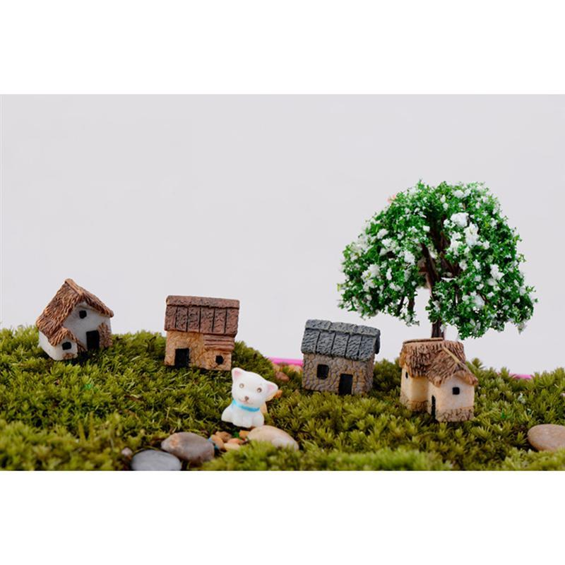 US $0 98 45% OFF|4PCS Miniature Gardening Landscape Micro Village Stone  Houses Thumbnail House Thatched Huts DIY Bonsai Terrarium Crafts -in  Figurines