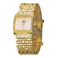 Women S Delicate Square Case Diamond Silver Gold Steel Luxury Quartz Bracelet Watch 2015 Japan Movement