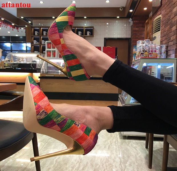 2018 Spring Newest Arrival Mix Color Women High Heels Pointed Toe Female Party Dress Shoes Slip-on Sexy Pumps 12CM Stiletto newest flock blade heels shoes 2018 pointed toe slip on women platform pumps sexy metal heels wedding party dress shoes
