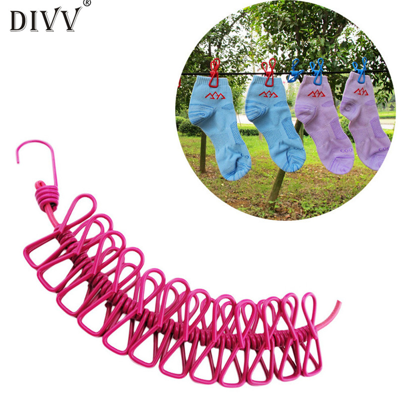 DIVV 185CM Durable Wild Travel Portable Windproof Elastic Clothesline Clips Hanger Drying rack clothes hanging rope line u70524
