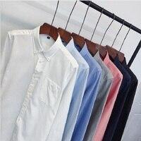 ECTIC Kuang2018 Brand Fashion Male Shirt Long Sleeves Tops Slim Casual Solid Color Mens Dress Shirts