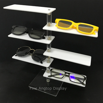 Clear and White Acrylic 6 Tier Jewelry Bracelet Shelf Table Top Retail Sunglasses Display Riser Small Cosmetic Show Rack transparent acrylic pen rack jewelry accessories shelves small items show eyebrow pencil display shelf collection display