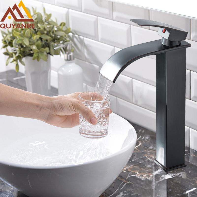 Black Bronze Waterfall Basin Faucet Bathroom Sink Water Tap Single Handle Hot Cold Water Mixer Tap