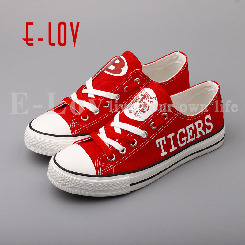 E-LOV Hot Sale Belton Tigers Red Canvas Shoes College Team Customization Shoes Low Top Lace Casual Shoes e lov women casual walking shoes graffiti aries horoscope canvas shoe low top flat oxford shoes for couples lovers