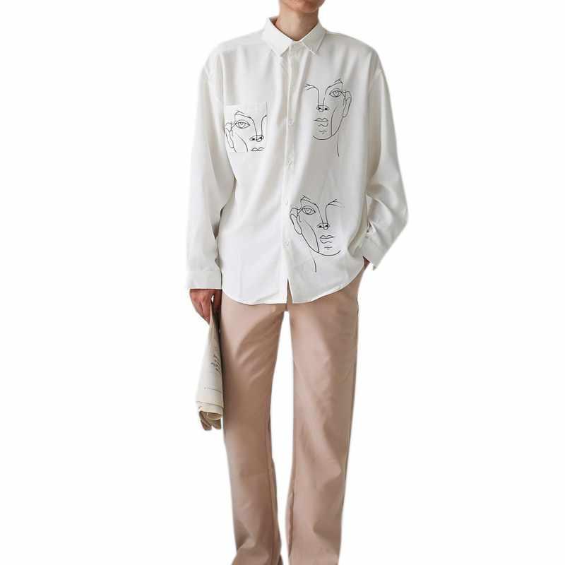 2020 Nieuwe Zomer Blouse Shirt Vrouwelijke Katoen Gezicht Afdrukken Volledige Mouw Lange Shirts Vrouwen Tops Dames Kleding