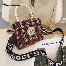2019 Luxury Woolen Top Handle Bags Women Handbag Letter Wide Shoulder Strap  Shoulder Messenger Bag Pearl decb673b5d9c