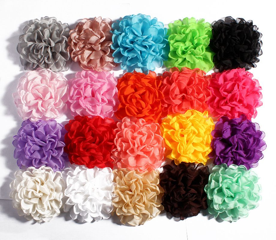 10pcs/lot 4inch 20colors Vintage Burned Eage Chiffon Artificial Flower Clips For Hair Accessories Fabric Flowers For Headbands