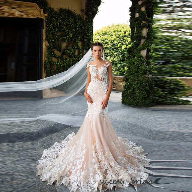Exquisite Wedding Dresses 2017 New Lace Lique Mermaid White Peach Tulle Bride Dress Vestido De