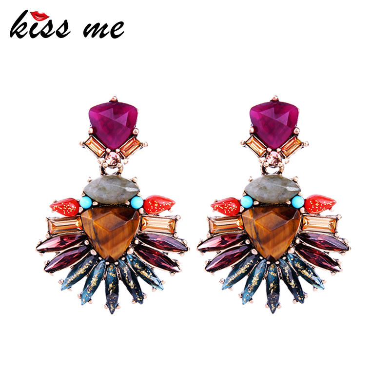 KISS ME Colorful Geometric Crystal Natural Stone Drop Earrings for Women Alloy Vintage Statement Earrings Fashion Jewelry vintage natural stone drop earrings