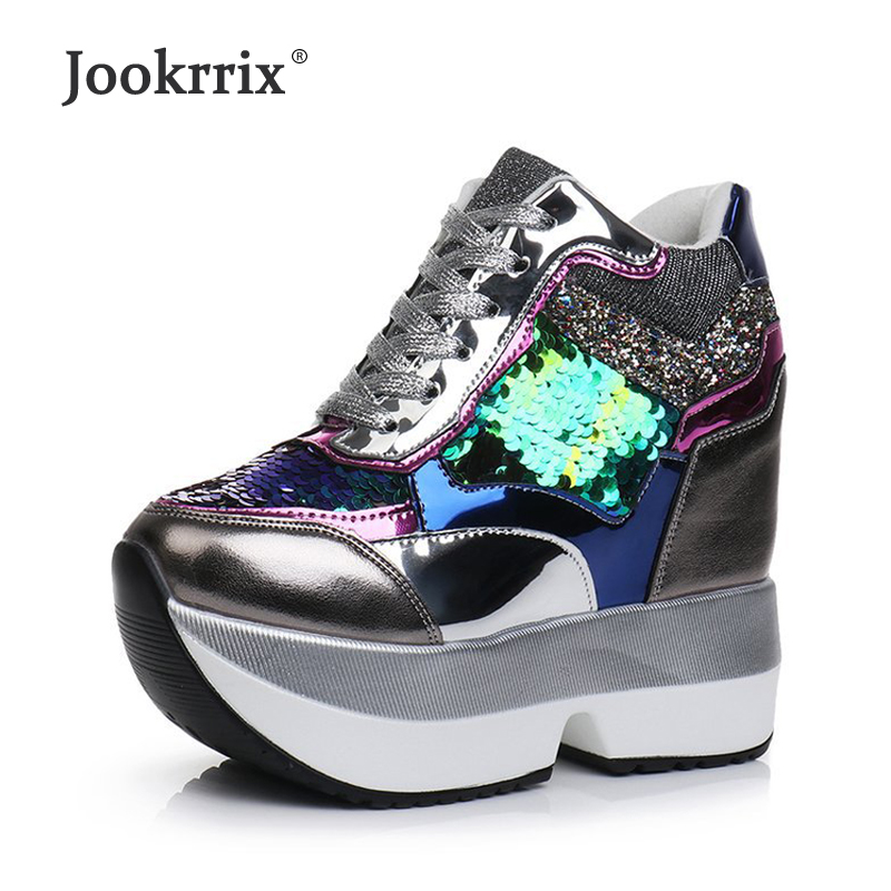 Jookrrix 2018 Autumn Shoes Women Casual Cutouts Shoes Glitter Breathable Platform Shoe sapato feminino Sequins Heighten Bling summer women shoes casual cutouts lace canvas shoes hollow floral breathable platform flat shoe sapato feminino lace sandals page 7