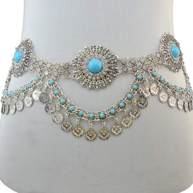 9c6d38d3c6a US $9.68 43% OFF|Ethnic Gypsy Silver Metal Belt Body Chains Boho Indian  Sexy Coin Tassel Beads Stone Belly Dance Waist Chain Turk Tribal Jewelry-in  ...
