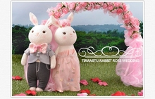 a pair pink wedding coat rabbit toys cute lovely cartoon rabbit dolls wedding gift about 38cm