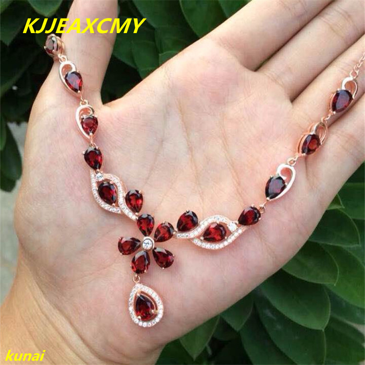 KJJEAXCMY boutique jewels 925 silver trimmed garnet female Pendant NecklaceKJJEAXCMY boutique jewels 925 silver trimmed garnet female Pendant Necklace