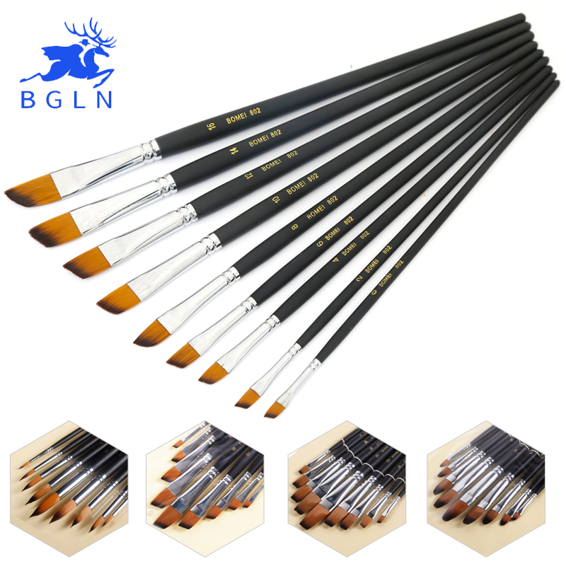9Pcs/set Artist Paint Brush Round ,Pointed,Flat ,Oblique Art Paint Brushes For Oil ,Watercolor ,Acrylic Painting Art Supplies