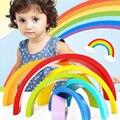 Creativo de madera Bloques Del Arco Iris Del Bebé Unisex Juguetes Bloques de Montaje de Gran Tamaño Del Arco Iris 7 Unids/set Educativos Niño Infantil