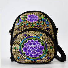 Canvas Flower Embroidery Backpack Girls Casual Small School Rucksack Female Chinese Ethnic Boho Style Travel Backpack Back Bag noenname chinese national style cow leather bag ladies and girls backpack tassel handmade ethnic flowers embroidery backpacks