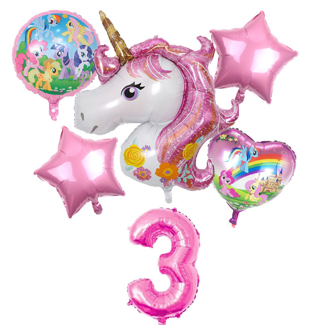 6Pcs Birthday Party Decor Kids Unicorn Balloons My Little horse Party Supplies Balloons 32 inch Number Helium Digital Baloon Set