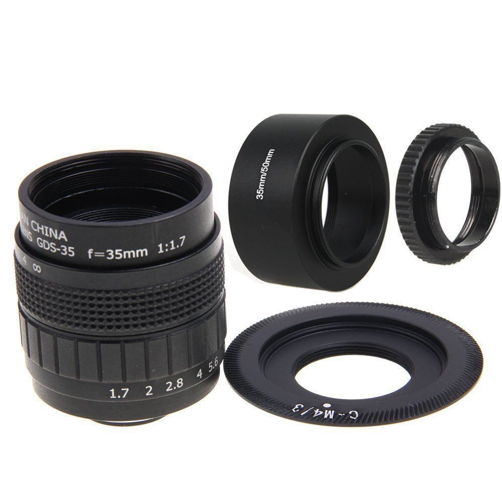 Fujian 35mm F1.7 CCTV Movie lens + C Mount + Zonnekap voor Olympus Panasonic Micro M4/3 M 4/3 Camera lens