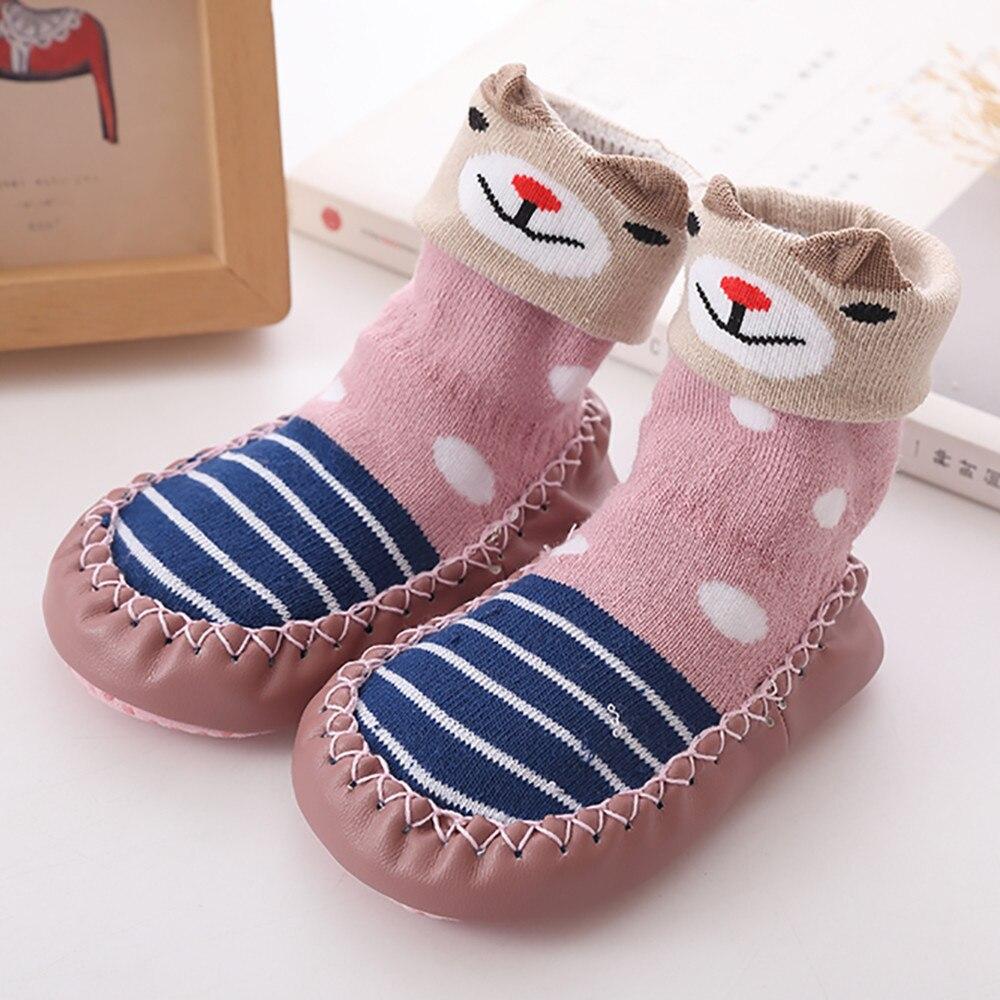 Весна-Осень-зима, носки для малышей с героями мультфильмов детские хлопковые нескользящие носки-тапочки с кожаной подошвой детские носки для новорожденных - Цвет: Pink