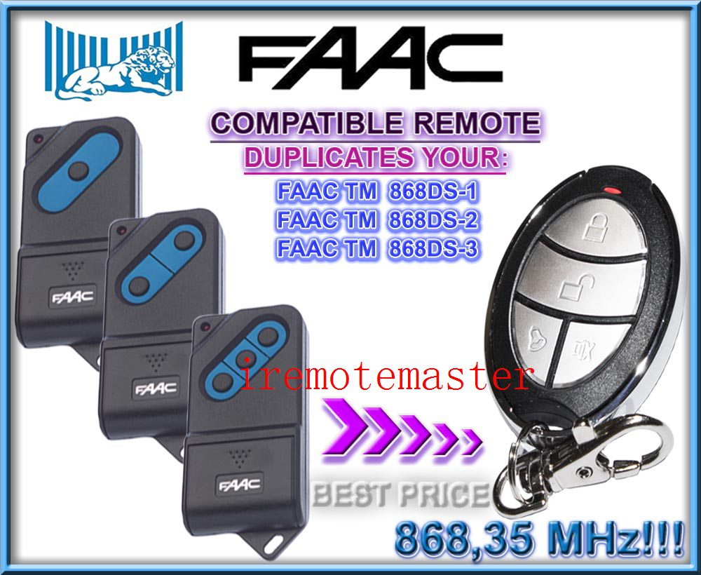 FAAC TM 868DS-1,TM 868DS-2,TM 868DS-3 replaement remote control 868mhz the remote replace for faac tm 433ds 1 tm 433ds 2 tm 433ds 3 garage door opener fixed code 433mhz