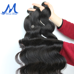 Image 3 - Missblue 3 Bundles With Closure Peruvian Hair Weave Bundle With Lace Closure Body Wave 100% Remy Human Hair Bundles With Closure