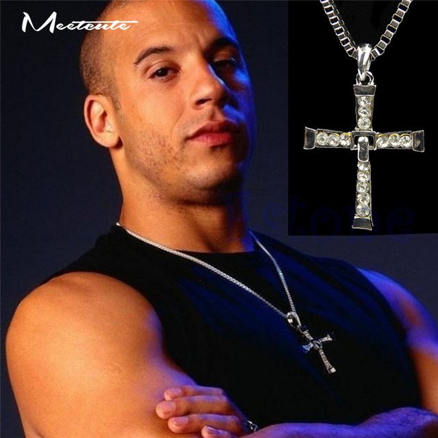 Meetcute Free Fast and Furious 6 hard gas actor Dominic Toretto / Vin Diesel Necklace for Male Silver Plated Movie Jewelry