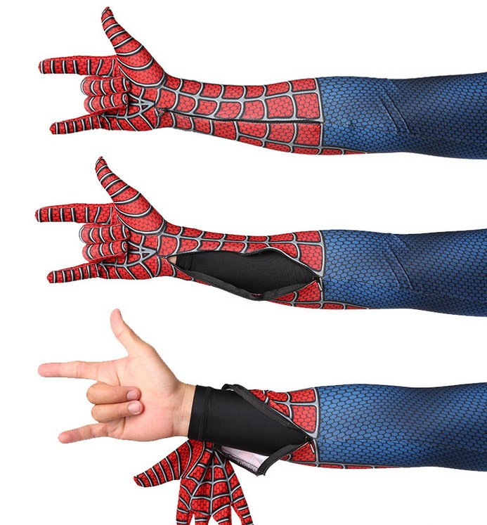 SpiderMan Costume Arm Zipper Crotch Zipper Invisible Zippers  Halloween Costume For Adult Sailor Moon Costume Cosplay Bodysuit