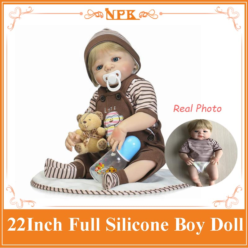Hot Sale 22inch NPK Boy Bebe Newborn Doll With Lovely Brown Clothes Full Silicone Vinyl Reborn Baby Dolls Toys For Girl/Baby/Kid free shipping hot sale real silicon baby dolls 55cm 22inch npk brand lifelike lovely reborn dolls babies toys for children gift