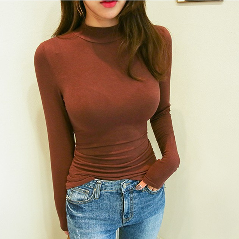 Shintimes Turtleneck Slim T Shirt Tops 2019 Autumn Winter Vogue Tshirts Korean Sexy White Elasticity Long Sleeve Tee Shirt Femme