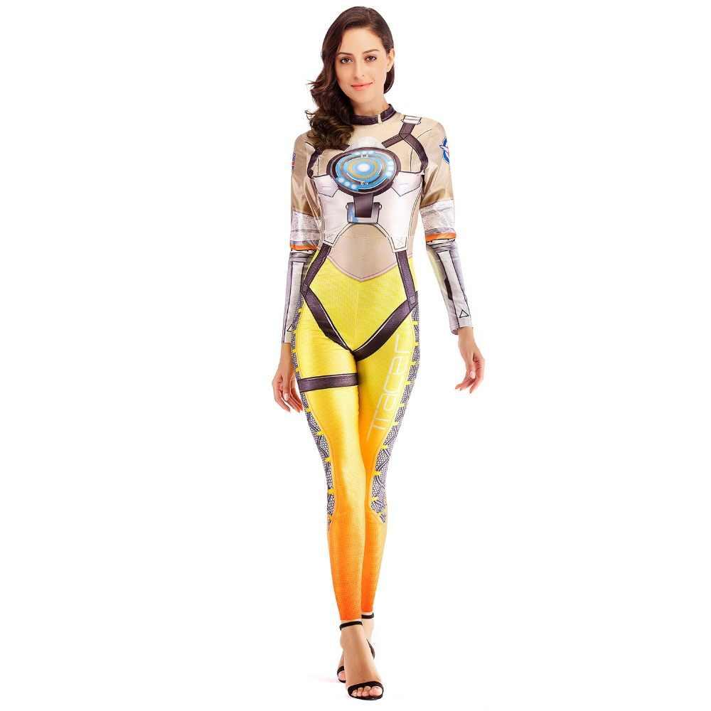 [Sen benim gizli] 2019 D. r e r e r e r e r e r e r e r e r e r e OW oyunu Cosplay kostüm kadınlar için Deadpool süper kahraman Tracer tulum parti seksi Catsuit Bodysuit