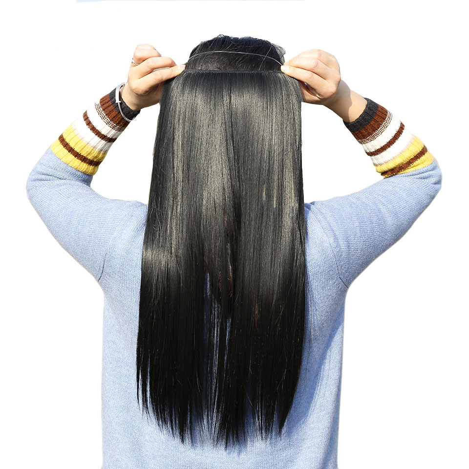 AOSIWIG Långt hår Fisklinje Vågigt hårförlängningar Hemliga - Syntetiskt hår - Foto 2