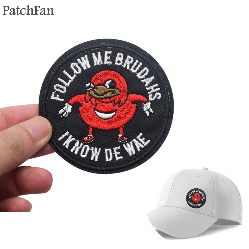 Patchfan Ugandan Knuckles <font><b>Meme</b></font> Iron on Patches Clothing para diy Embroidered badges Sewing Applique Patchworks stickers A1190 image