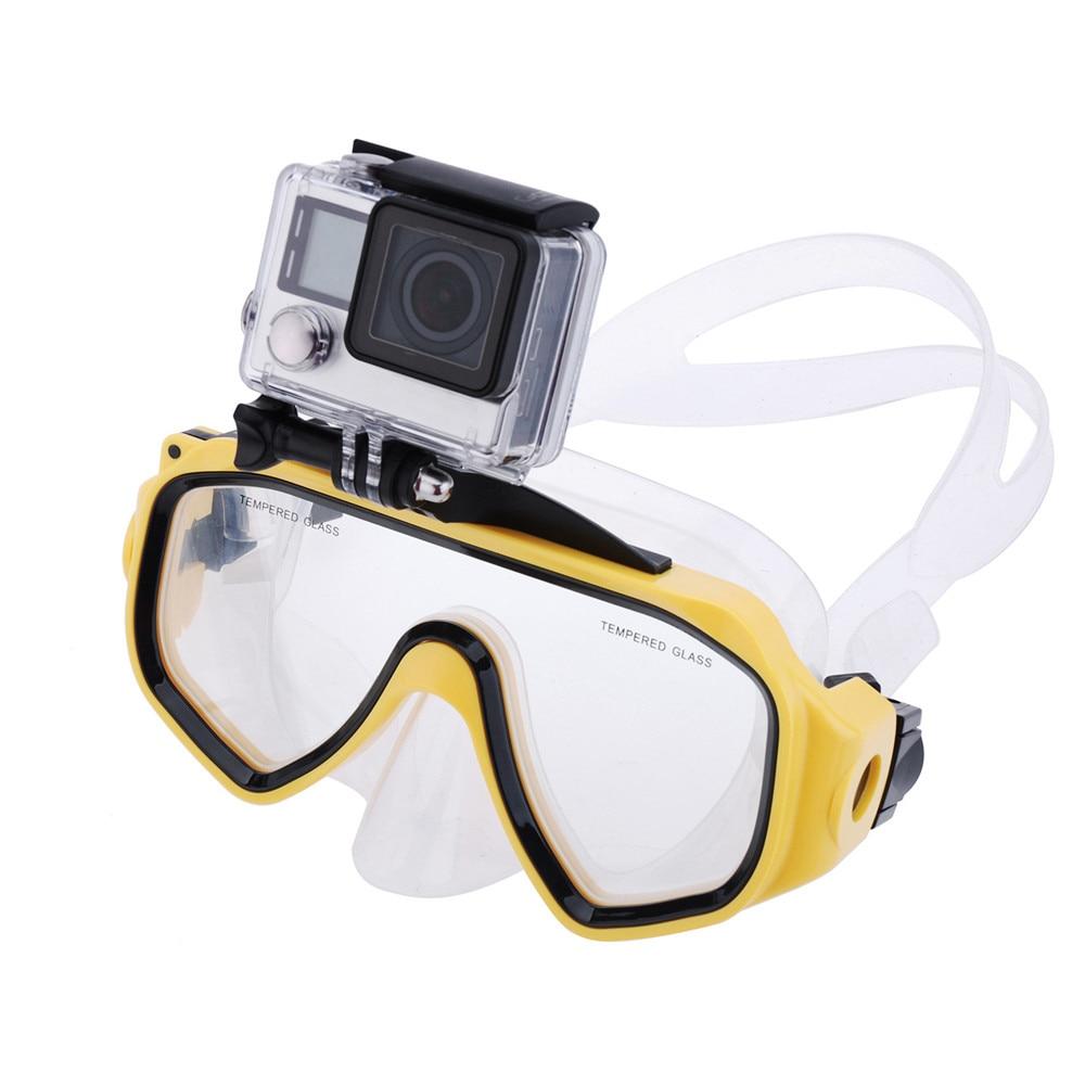 Masque de plongée avec fixation à vis amovible pour GoPro Hero 4 3 + 3 2 1 lunettes de natation en verre trempé lentille Anti-buée