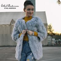 Этель Anderson Женское пальто из натурального кроличьего меха длинная куртка Винтажный стиль одежда OL o-образным вырезом