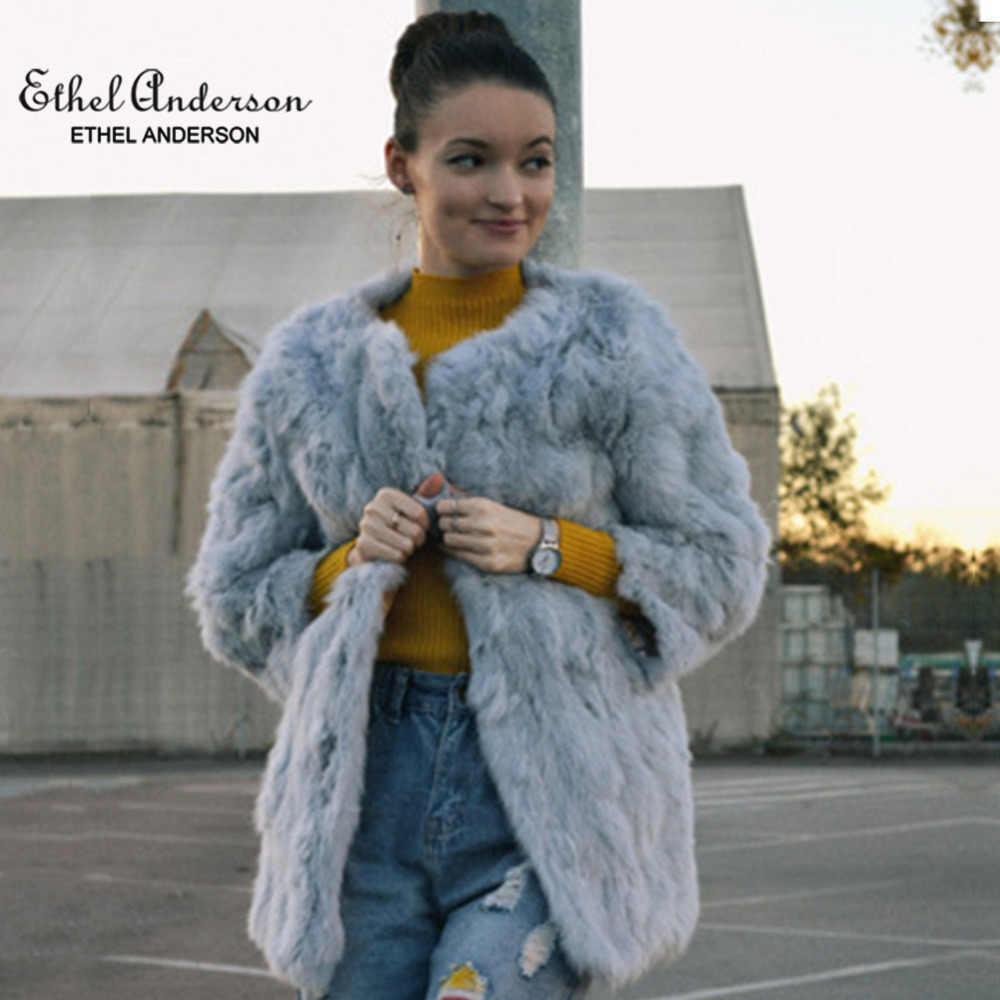 Ethel Anderson kadın gerçek tavşan kürk ceket uzun ceket Vintage stil OL dış giyim o-boyun