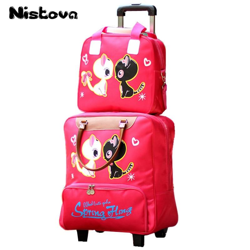 Women's New Oxford Cloth Cartoon Cute Trolley Suitcase Waterproof Wearable Folding Travel Bag Women's Large Capacity Luggage Bag